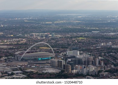 London/England - July 30 2016 Central London from the air. The view over Wembley Stadium and surrounding bulidings