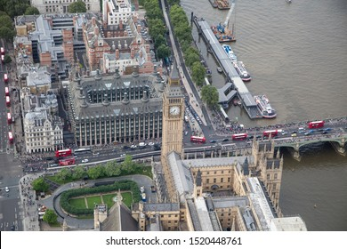 London/England - July 30 2016 Central London from the air. The River Thames and Waterloo Bridge, Parliament Square and The Palace of Westminster ,next to Portcullis house (top)