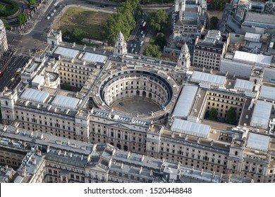 London/England - July 30 2016 Central London from the air. HM Treasury next to Parliament Square (top left)