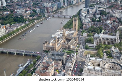 London/England - July 30 2016 Central London from the air. The River Thames next to Westminster Bridge, next to The Palace of Westminster,Portcullis House and Westminster Abbey, The Supreme Court