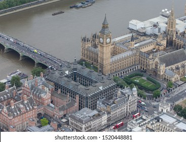 London/England - July 30 2016 Central London from the air. Parliament Square and The Palace of Westminster, Portcullis House, (centre), and Westminster Bridge over the river Thames.