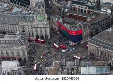 London/England - July 30 2016 Central London from the air. London buses pass through Piccadilly Circus and Regent Street
