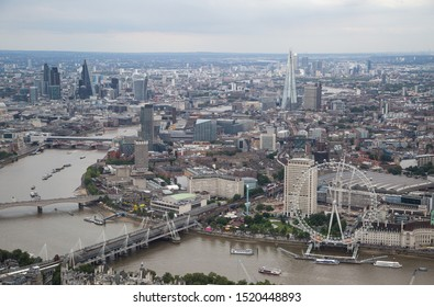 London/England - July 30 2016 Central London from the air. London cityscape, inc The Shard, Canary Wharf and the London Eye