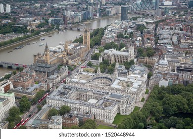 London/England - July 30 2016 Central London from the air. Westminster Bridge and Lambeth Bridge (top left), next to The Palace of Westminster, Portcullis House, (centre left). Westminster Abbey
