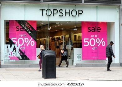 LONDON,ENGLAND - JULY 8, 2016: Topshop store near Victoria station. Topshop is a British fashion retailer with more than 500 shops worldwide.