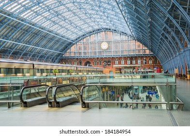 LONDON,ENGLAND Mar 26: St Pancras Station on March 26th, 2014 in London, England.St Pancras Station is the main rail terminal for  Eurostar train departures from London to the European mainland.