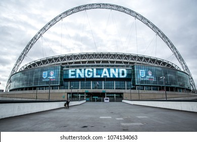 London/England: November 9, 2015: Wembley Stadium, the largest football stadium in England showing with the logo of England National team showing on the stadium billboards.