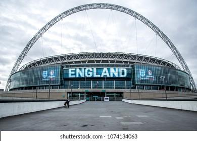 London/England: November 9, 2015: Wembley Stadium, the largest football stadium in England showing with the logo of England National team showing on the stadium billboards.