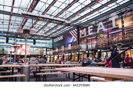 London,England on 15th May 2017. Boxpark pop-up food market in East Croydon