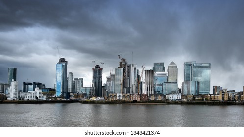 London,England on 17th March 2019:Canary Wharf is a commercial estate on the Isle of Dogs. It is one of the main financial centres of the United Kingdom, along with the City of London