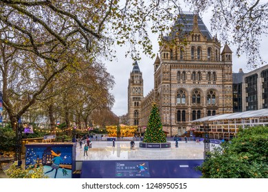 London,England on 1st Dec 2018: The Natural History Museum in Kensington opens a ice rink  from October to the end of January, members of the public pay to use the facility although the museum is free