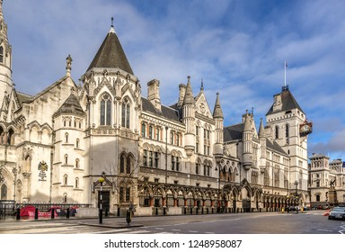 London,England on the 2nd Dec 2018:The Royal courts of Justice known as the Law Courts houses the High Court and Court of Appeal of England and Wales. It is located on the Strand in Westminster