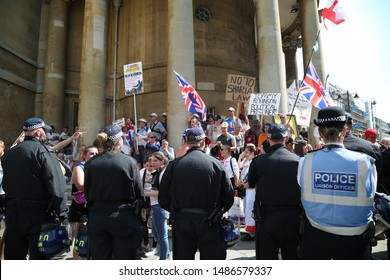 London/England/August 24th 2019. Tommy Robinson supporters protest and anti protest