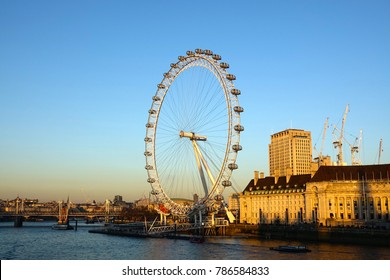 LONDON-ENGLAND-JANUARY 21, 2017:The London Eye is a giant Ferris wheel on the South Bank of the River Thames in London.