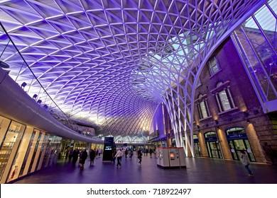 LONDON,ENGLAND,U.K. - JULY 11, 2017: Interior of Kings Cross - St. Pancras Station Western Concourse