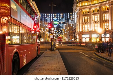 London/Great Britain, November 26  2017 - London oxford street in christmas lights and decorations. Crazy shopping.