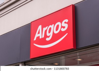 LONDON-JULY, 2018: Argos high street shop exterior signage- a British catalogue retailer and subsidiary of Sainsbury's