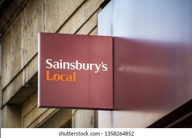 LONDON-MARCH, 2019: Sainsburys Local supermarket exterior signage. A large chain of Supermarkets based in the UK