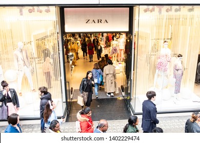 LONDON-MAY, 2019: Zara store on Oxford Street- Spanish fashion brand on landmark shopping street in London's West End
