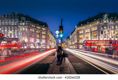LONDON-NOV 10:View of Oxford Street on November 10, 2015 in London. Oxford Street is a major road in the West End of London, UK.
