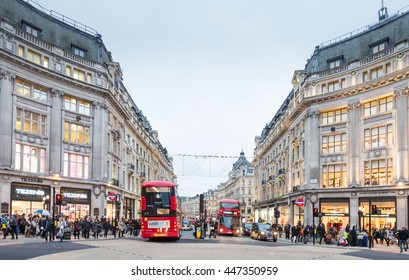 LONDON-NOV 10:View of Oxford Street on September 10, 2015 in London. Oxford Street is a major road in the West End of London, UK.