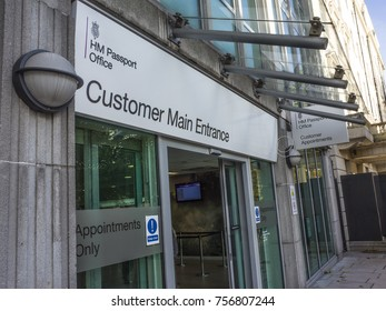 LONDON-NOVEMBER, 2017: Exterior view and signs of HM Passport Office close to Victoria Station in London