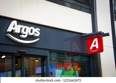 LONDON-OCTOBER, 2018: Argos high street shop exterior signage- a British catalogue retailer