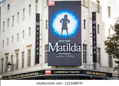 LONDON-OCTOBER 2018: Matilda musical exterior signage at the Cambridge Theatre in London's West End