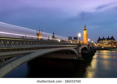 London's Parliament Bridge at Dusk