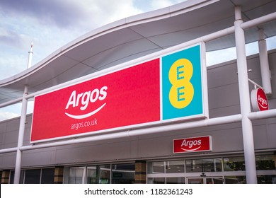 LONDON-SEPTEMBER, 2018: Argos & EE store exterior signage on a retial park in south west London- a British catalogue retailer