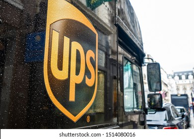 LONDON-SEPTEMBER, 2019: UPS or United Parcel Service electric delivery van parked in the streets of central London. An American multinational package delivery company