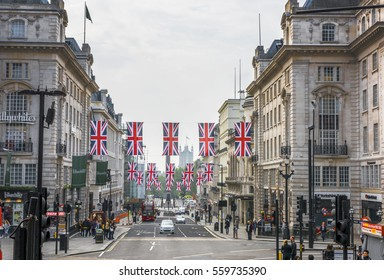 LONDON,THE UK - MAY 2016: national flags of Great Britain at Regent street