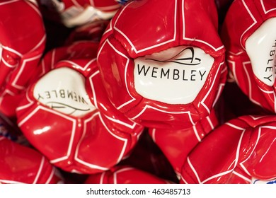 LONDON,THE UK-CIRCA MAY 2016: Ball on sale in the official Wembley Store