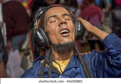 LONDON,THE UK-CIRCA MAY 2016:  Bob Marley wax figure in Madame Tussaud museum