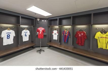 LONDON,THE UK-CIRCA MAY 2016: Changing room at Wembley stadium