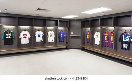LONDON,THE UK-CIRCA MAY 2016: at the changing room at Wembley stadium