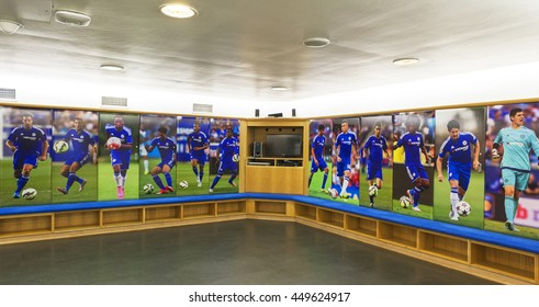 LONDON,THE UK-CIRCA MAY 2016: Changing room at Stamford Bridge Stadium - the official playground of FC Chelsea