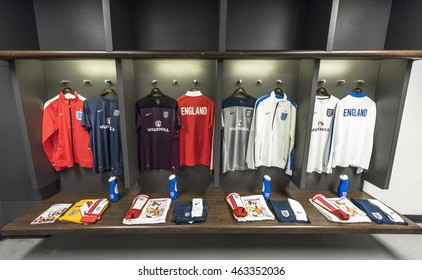 LONDON,THE UK-CIRCA MAY 2016: in the changing room at Wembley stadium