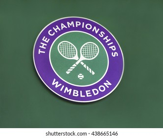 LONDON,THE UK-CIRCA MAY 2016: the emblem of Wimbledon grand slam tennis tournament