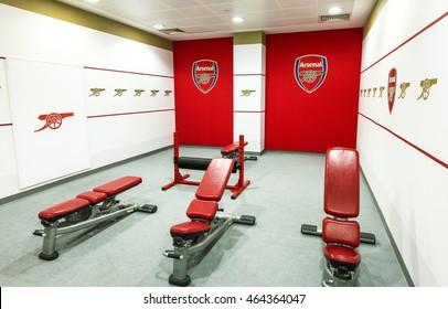 LONDON,THE UK-CIRCA MAY 2016: fitness corner at FC Arsenal stadium