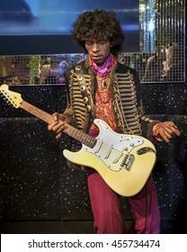 LONDON,THE UK-CIRCA MAY 2016:  Jimi Hendrix wax figure in Madame Tussaud museum