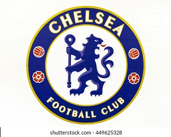 LONDON,THE UK-CIRCA MAY 2016: Official emblem of FC Chelsea on the brick wall of Stamford Bridge stadium