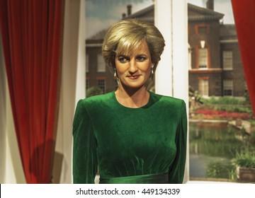 LONDON,THE UK-CIRCA MAY 2016: Princess Diana wax figure in Madame Tussauds Museum