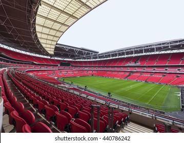 LONDON,THE UK-CIRCA MAY 2016: Visiting Wembley stadium - the central city arena