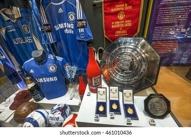 LONDON,THE UK-CIRCA MAY 2016: Visiting FC Chelsea museum