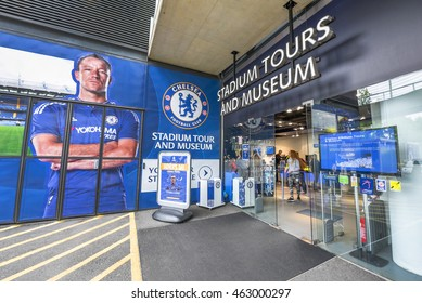 LONDON,THE UK-CIRCA MAY 2016: visiting Stamford Bridge stadium - the official playground of FC Chelsea