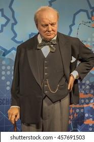 LONDON,THE UK-CIRCA MAY 2016: Winston Churchill wax figure in Madame Tussauds museum