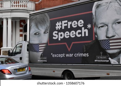 London/UK 0 - April 3 2019: The Big Wikileaks truck is now passing through the streets of London spreading awareness of the price of free speech. A gagged whistleblower Chelsea Manning &Julian Assange