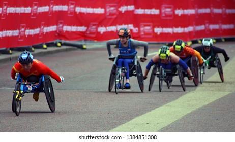 London/UK 04/28/19 Virgin Money London Marathon 2019 In the last few yards of the T53/T54 Womens wheelchair China's Lihong Zou leads Katrina Gerhard, Nikita Den Boer, Arielle Rausin and Aline Rocha