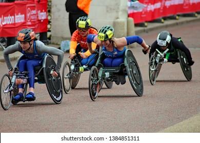 London/UK 04/28/19 Virgin Money London Marathon 2019 In the last few yards of the T53/T54 Womens wheelchair Katrina Gerhard followed by  Arielle Rausin, Nikita Den Boer,  and Aline dos Santos Rocha